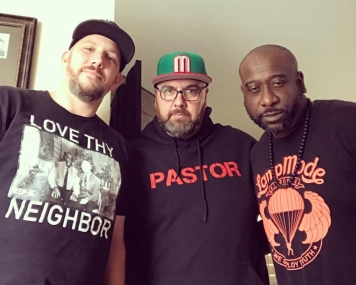 "The homie Rev. Kyle Blake of The Gathering Lutheran Church in Long Beach and the homie Celah, my partner in crime as we record weekly podcast episodes on ""Grace And Two Fingers"" I've come to know them so much, love them as I know their stories and feel their love for me and mine."